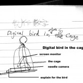 one digital bird in the cage